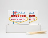 Gag gift fart matchboxes Vegas style -- Lucky Lites. Novelty matchbox funny gift. Set of three match boxes. Viva Las Vegas.