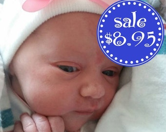 Infant Beanie Newborn Hospital Caps White Hospital - Newborn Hats with Hair Bows - Pink Stripes