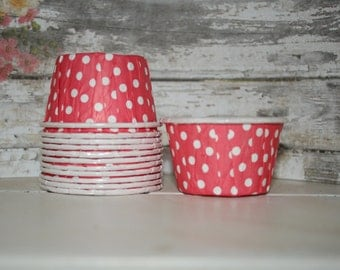 Red Nut Cup, Dessert Cups, Ice cream cups. Baking Cups, Portion Cups -- Set of 12, dots, stripes