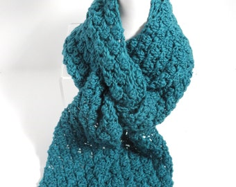 Ruffled Wool Scarf with Button Detail