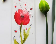 Flower Watercolor Pen And Ink Bookmark, Watercolor Giclee Bookmark, Spring Flower Watercolor Print Bookmark, Beaded Watercolor Bookmark Art