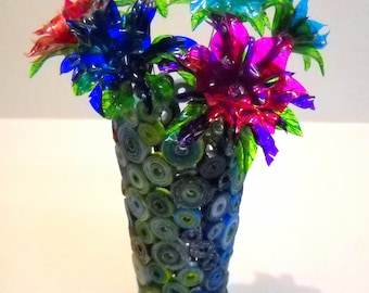Upcycled Repurposed Paper Vase Sculpture and  7 Water Bottle Flowers
