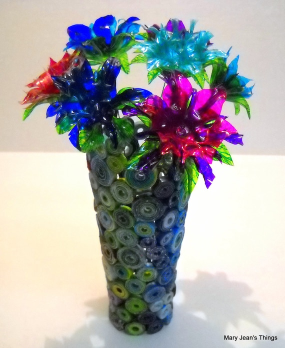Water Bottle Flowers: Upcycled Repurposed Paper Vase Sculpture And 7 Water Bottle
