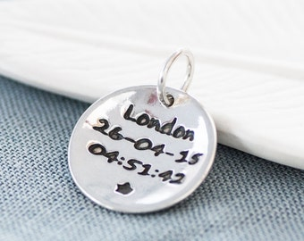 Personalised Marathon Runners Silver Charm, Running jewellery, Silver personalised pendant, Personal Best, gift for runner