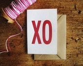 "XO Letterpress Card • Love/Valentine Card • Red Ink Cotton Paper • Size: 4Bar - 3.25"" x 4.875"" • Ink Petals"