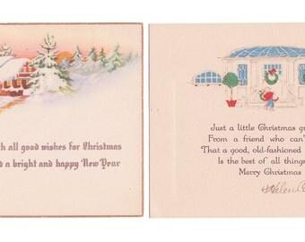 2 Vintage Christmas Cards circa 1920's