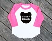 Sister Bear Toddler Kids Neon Heather Pink Sleeve Baseball TShirt with Black Print