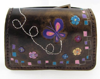 Leather clutch purse - The Butterfly
