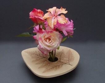 Handmade Pottery Ikebana Vase . Fern Impression . Natural Tan Clay