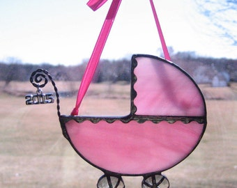 Rose Pink Baby Carriage Ornament, Baby's First Christmas Ornament, Tiffany Style Stained Glass Baby Carriage