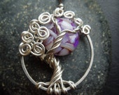 Purple Moon Tree of Life Necklace-Sterling Silver-Mother of Pearl shell