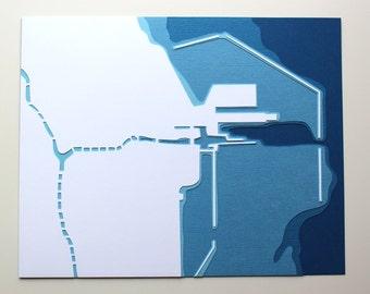 Chicago Harbor - original 8 x 10 papercut art