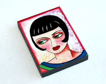 Flapper Art Print Wood Block, Wooden Girl Art Print, Fridge Magnet or Drilled Hole, ACEO ATC, Art Deco, Pink Red Black
