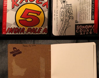 Racer 5 IPA, handbound notebook - 4in x 5in, repurposed, creative reuse, rock chick designs, rcd, humboldt made