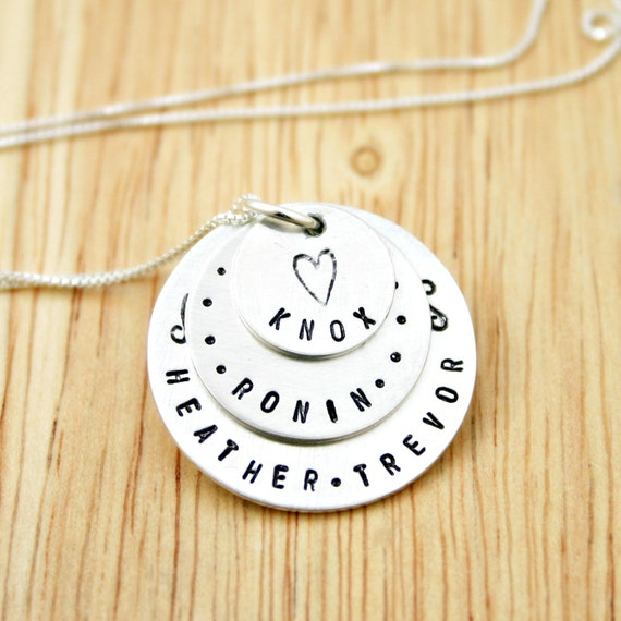 Personalized mothers necklace with three names- Sterling Silver Hand stamped jewelry for mom