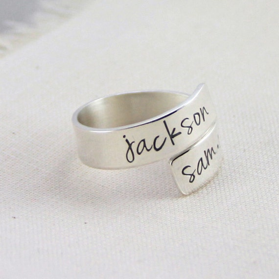 Mommy Ring, Kids Name Ring, Custom Mom Ring, Sterling Silver Wrap Ring, Hand Stamped Jewelry, Mothers Day Gift, Couples Names Ring