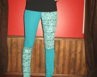 Crazy Cat Lady Patchwork Punk Leggings Small Medium By Vicmes Clothing