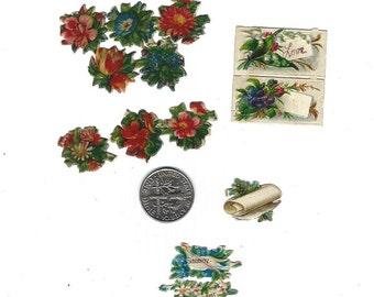 Antique German Paper Scrap Mini Die Cut Floral Scenes Mixed Lot 13 Pieces Mint Condition