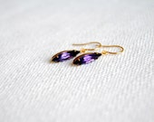SALE - Purple Rhinestone Earrings. Small Drop Earrings. Glass Drop Earrings. Vintage Charms. Gifts for Her. FREE Shipping in US