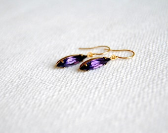 Purple Rhinestone Earrings. Small Drop Earrings. Minimal Everyday. Glass Drop Earrings. Vintage Charms. Gifts for Her. FREE Shipping in US