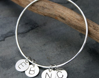 Letter Charm Bangle, Sterling Silver Customized Family Bangle, You Choose the Letters, Initial Stacking Bracelet, Hand Stamped Charms, Love
