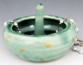 Green & Gold Ring Dish, Ring Holder, Ceramic Jewelry Dish, Ring Tree