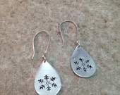 Sterling Silver Snowflake Teardrop Disk Earrings