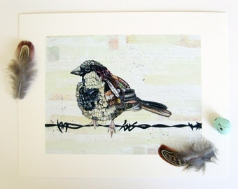 Bird Picture, Brown sparrow, Woodland bird,5x7, Bird art, Bird prints, Giclee, Painting of bird, Nature Print, Wall art, Decor, New Home,Art