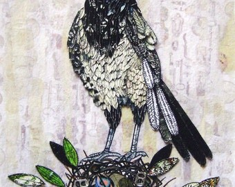 Magpie, Painting, Wall decor, Bird Prints, Art Prints, 6x4,Bird, Bird Print, Bird Art, Modern Art, Magpie Art, Wall Art, Wall hanging, Nest