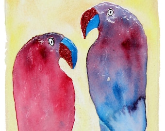 Patriot Parrots Red White and Blue ORIGINAL painting