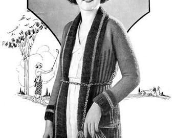 1920s Sporty Sweater Knitting E-Pattern- PDF Knitting Pattern Download
