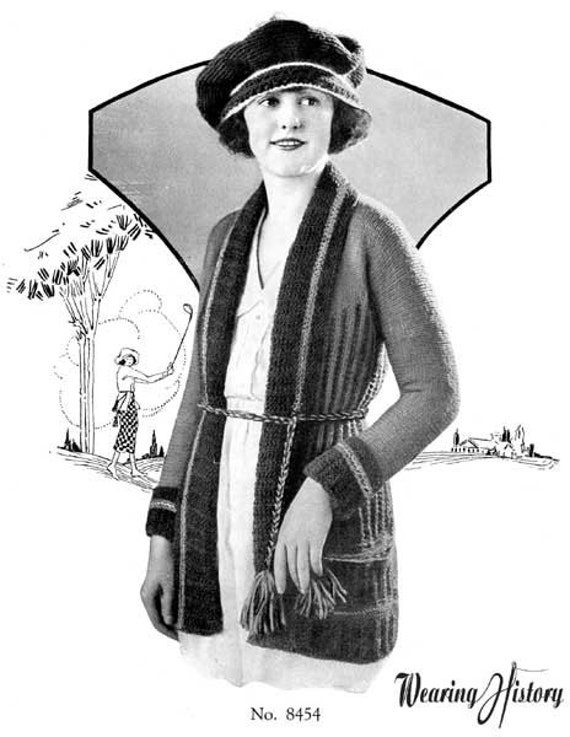 Vintage Sweaters – 1910s, 1920s, 1930s Pictures 1920s Sporty Sweater Knitting E-Pattern- PDF Knitting Pattern Download $2.99 AT vintagedancer.com