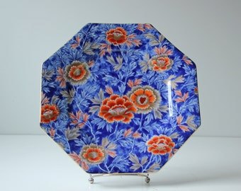 vintage octagonal Japanese Imari plate blue and red