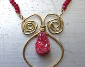Pomegranate Necklace Fertility Amulet Red Druzy Ancient Design