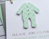 quatrefoil sleeper custom baby shower invitation