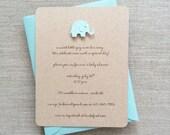 Diecut Elephant Baby Shower Invitation Boy