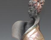 Standing Buddha Figurative Sculpture in Raku Ceramics Vase Wabi Sabi style by Anita Feng