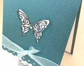 "Hand Crafted - Thank You Card - ""Thank You"" Sentiment, Embossed Die Cut Butterfly, Pearlized Teal, Scalloped edging,  Envelope Included"