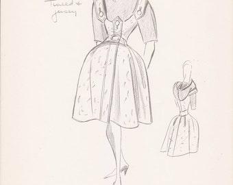 Vintage Fashion Sketch Print 1960s Illustration Clothing Drawing Art