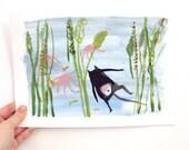 Underwater Cat - Original illustration