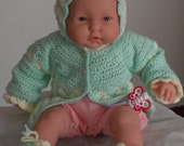 Crocheted Layette Sweater Set  Infant Baby Girl Sweater Set Size Newborn to Three months Mint Green and Antique White