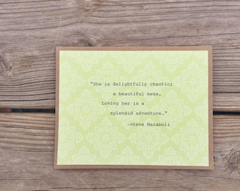 A Beautiful Mess Quote Note Card