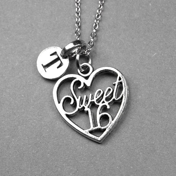 Sweet 16 Charm Bracelet: Sweet 16 Necklace Sweet Sixteen Charm Heart Silver Plated