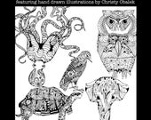Grown up coloring book  Digital download Ink illustrations owl elephant octopus turtle crow