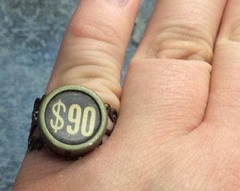 Real Steampunk handmade ring vintage cash register part- 90 dollars key  Mechanical Romance