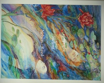 Mermaids, watercolor art giclee, by Helena Nelson - Reed signed