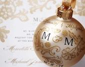 Custom Golden Lace Wedding Invitation Ornament - Personalized