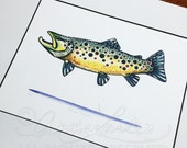 Limited Edition Watercolor Brown Trout Gicleé Print 8.5x11 Conservation Matted to 11x14