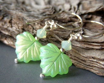 On Sale Earrings, Green Leaf Earrings, Mint Green Earrings, Sterling Silver Swarovski, Glass Iridescent Maple Leaves Mint Leaf Earrings
