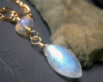 Rainbow Moonstone Necklace Goldfill, Moonstone Opal Pendant, Petite Wirewrapped Gold Filled Genuine Gemstone, Marquis Shape Gemstone